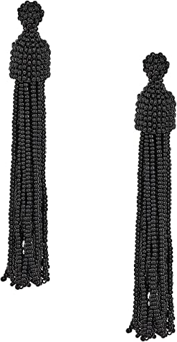 Kenneth Jay Lane Black Seed Bead Tassel Post Earrings