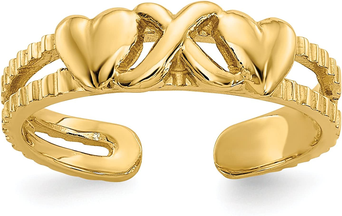 14k Yellow Gold Twin Hearts with Connecting X Split Shank Toe Ring