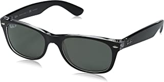 RAY-BAN RB2132 New Wayfarer Sunglasses, Black On Transparent/Green, 58 mm