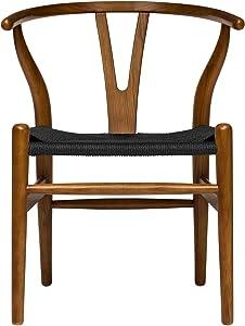 Hans Wegner Wishbone Style Woven Seat Chair (Walnut with Black Cord)