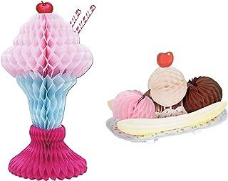 Ice Cream Social or Party Centerpiece Bundle | Includes Tissue Ice Cream Sundae and Banana Split Centerpieces