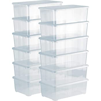 Rotho Clear, Juego de 4 cajas de almacenamiento de 5l con tapa, Plástico PP sin BPA, transparente, 4 x 5l 33.0 x 19.0 x 24.0 cm: Amazon.es: Hogar
