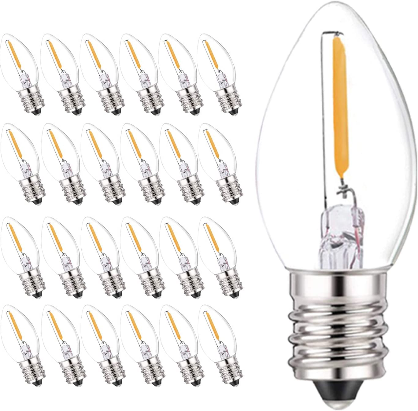 25 free Pack C7 LED Bulbs 0.5 Filament Night Edi Watts Bulb Deluxe Light