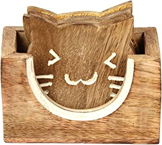 Aheli Wooden Cat Design Coasters for Drinks with Holder Tea Coffee Glass Coaster Kitchen Bar Dining Accessories, Set of 4