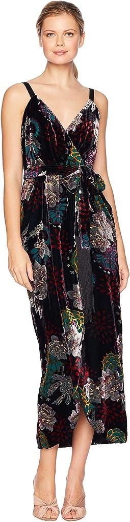 Floral Velvet Wrap Gown