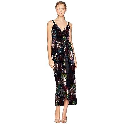 Laundry by Shelli Segal Floral Velvet Wrap Gown (Black Multi) Women