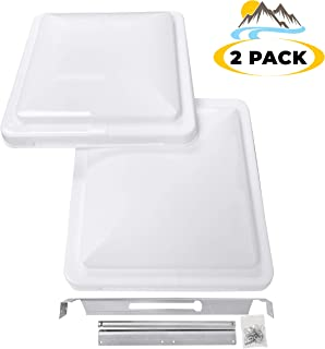 """Camp`N 14"""" Universal RV, Trailer, Camper, Motorhome Roof Vent Cover - Vent Lid Replacement (White 2 Pack)"""