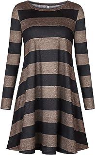 Soluo Women's Striped Tunic Dress Long Sleeve Casual Loose Striped Shirt Versatile Swing top T-Shirt