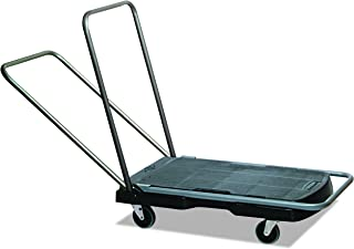 Rubbermaid Commercial Products Triple Trolley Folding Handle Dolly/Cart/Platform Truck with wheels, 250 lbs Capacity, for Moving/Warehouse/Office (FG440000BLA)