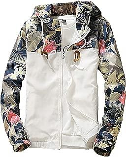 Men's Windbreaker Jacket, Floral Bomber Jacket Hooded Lightweight Zip-up Drawstring Flower Coat