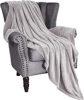 "Exclusivo Mezcla Soft Flannel Fleece Velvet Plush Throw Blanket – 50"" x 60"" (Light Grey)"