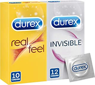 Durex Real Feel Condoms + Invisible Extra Thin Extra Lubricated - Pack Of 22 Condoms