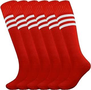 Knee Length Striped Unisex Sports Socks Multicolor 3/6/12 Pairs