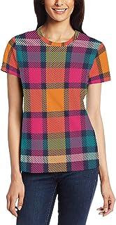 XiangHeFu T-shirt voor vrouwen meisjes kunst kleurrijke Tartan Plaid aangepaste korte mouw