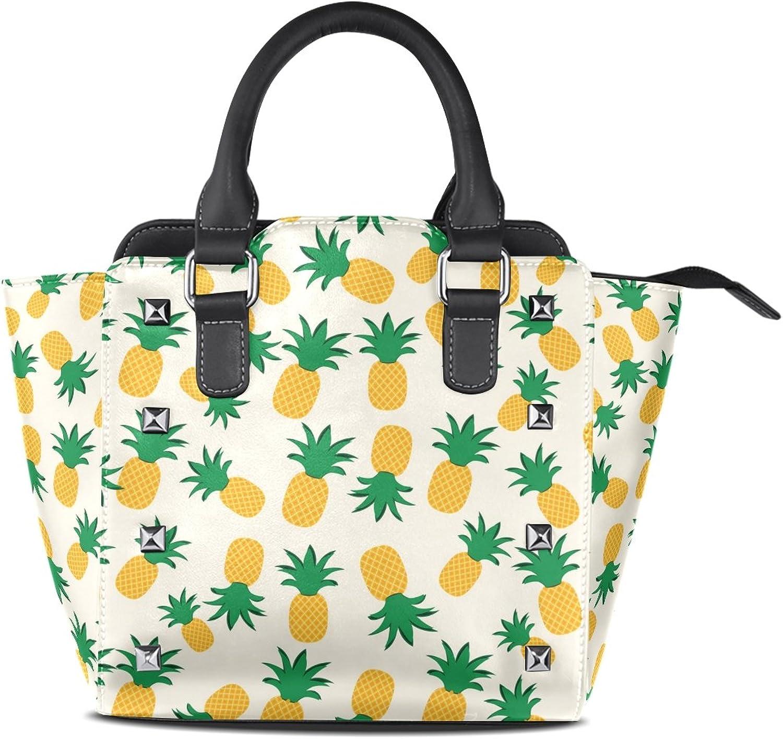 My Little Nest Women's Top Handle Satchel Handbag Pineapple Fruits Decor Ladies PU Leather Shoulder Bag Crossbody Bag