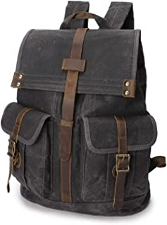 WindTook Rucksack Daypack aus Canvas Leder Rucksäcke Vintage Retro Tagesrucksack für Uni Büro Alltag mit Laptopfach Wasserdicht 15,6 Zoll