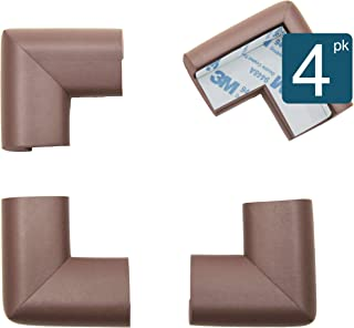 Roving Cove | Corner Protector | Baby Proofing Table Corner Bumper Guard | Child Safety Furniture Fireplace Corner Edge Guards | Soft Foam | Safe Corner Cushion | Pre-Taped | 4-pcs Coffee (Brown)