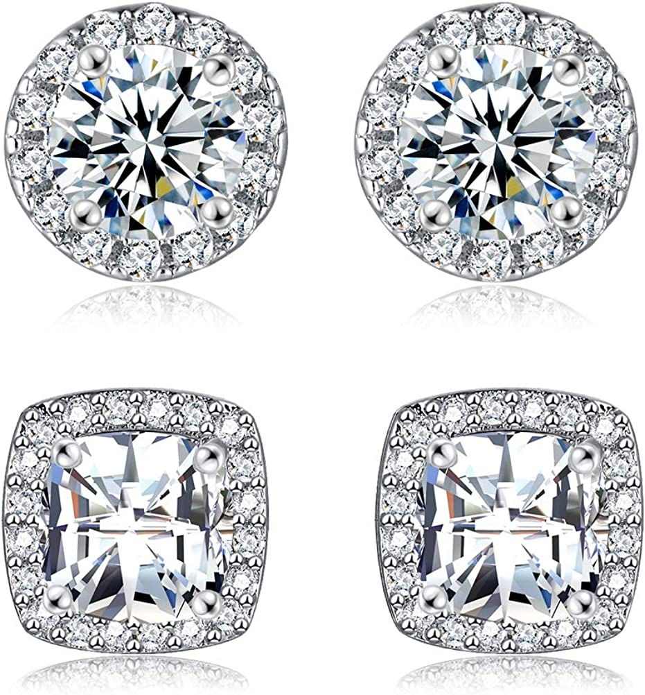 18K White Gold Plated Round Square Cubic Zirconia Simulated Diamond Halo Stud Earrings (2 Pairs): Clothing