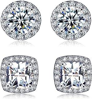 گوشواره های موزون با طلای 18K مکعب زیرکونیا گوشواره های حساس الماس Halo گل میخ مخصوص زنان مردان