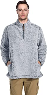 Men's Sherpa Pullover Sweater 1/4 Zip Stand Collar Fleece Jacket with Pockets