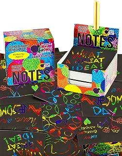 Mini Bloc de Notas Mágico con de Purple Ladybug - 150 Cartulinas Negras Rascables para Dibujar con Niños, Manualidades, Escribir Listas - Incluye 2 Lápices! Fondo ArcoirisHolografico