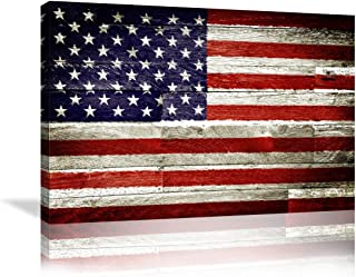 Urttiiyy Vintage American Flag Wall Art Stars Stripes on Wooden Background Wall Art Canvas Print US USA Themed Home Decor Pictures for Living Room Bedroom Painting Poster Framed Ready to Hang