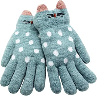 Kids Gloves Mittens Cute Cat Dotted Warm Thick Gloves Soft Faux Fur Fleece Inner for Girls Boys