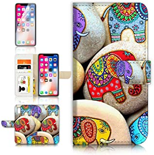 ( For iPhone X ) Flip Wallet Case Cover & Screen Protector Bundle! A40613 India Elephant Stone