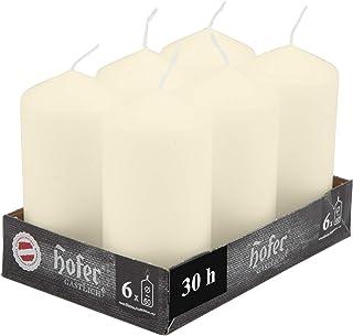 comprar comparacion Hofer Velas Pilar - Paquete de 6 piezas - 30 horas de tiempo de combustión - Marfil - 6 cm x 12 cm - Cera sin perfume, sin...