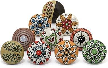 OwlKraft Set of 10 Handmade Colorful Flower Mandala Flat Ceramic Knobs - Cabinet knobs - Drawer knobs - Cabinet pulls - Door