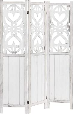 MyGift 3-Panel Decorative Vintage White Cutout Heart Design Room Divider