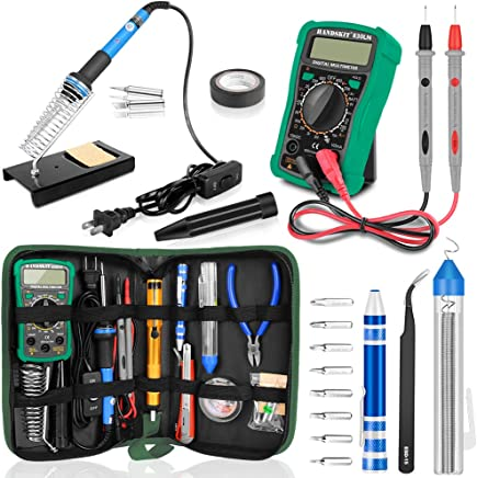 Soldering Iron Kit with Digital Multimeter, HANDSKIT Soldering Iron Kit Electronics, 60W Adjustable Temperature