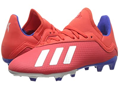 adidas Kids X 18.3 FG Soccer (Little Kid/Big Kid) (Active Red/Silver/Blue) Kids Shoes