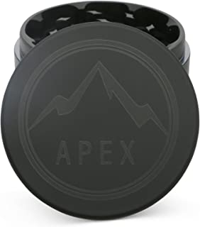 Soft Touch Limited Edition Matte Black Apex Herb Grinder Top Rated 2.5 Inch 4 piece with Pollen Catcher