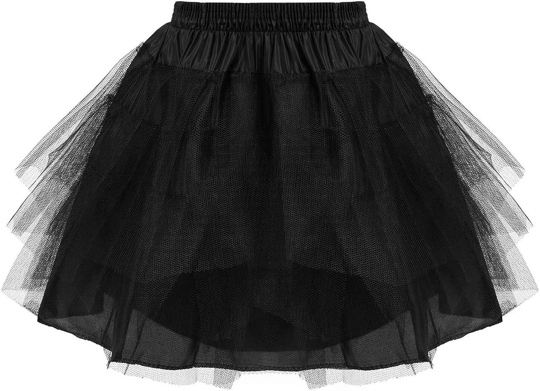 ranrann Kids Layered Elastic Waistband Crinoline Petticoat Flower Girl Wedding Underskirt Slip A-line Pleated Underskirt