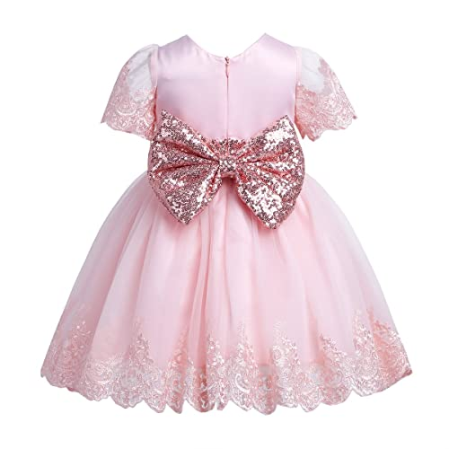876ce421cbf8d TiaoBug Baby Girls Sequined Bowknot Flower Birthday Party Dress Wedding  Baptism Easter Gown