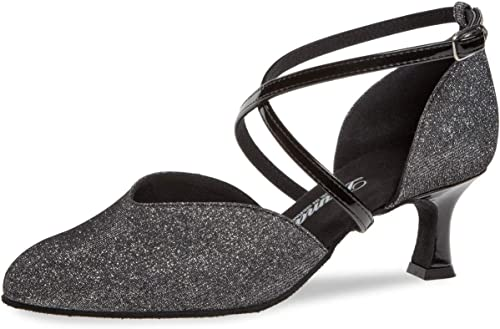 damases zapatos de Baile Latino 170-106-520 - Brocado negro Plateado - 5 cm Flare - Made in Germany