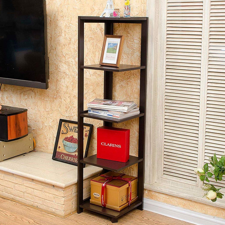 Bookshelf Solid Wood Storage Organizer Shelf, Utility Flower Stand Decor Display Rack, for Bed Room Bathroom Living Room Kitchen (2 colors)