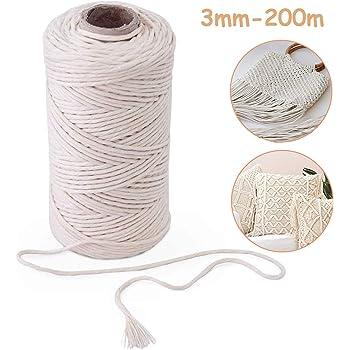 200m Cuerda Cordel de Algodón Hilo Macramé,Cuerda trenzada de algodón natural para Envolver Regalo Navidad, Colgar Fotos, Manualidades, Costura, DIY Artesanía,3 mm de diámetro(beige): Amazon.es: Hogar