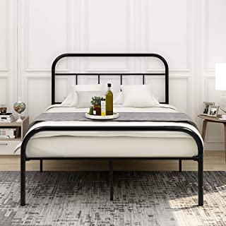 DUMEE Metal Bed Frame Full Size Platform Mattress Foundation with Headboard and Footboard Box Spring Replacement Black