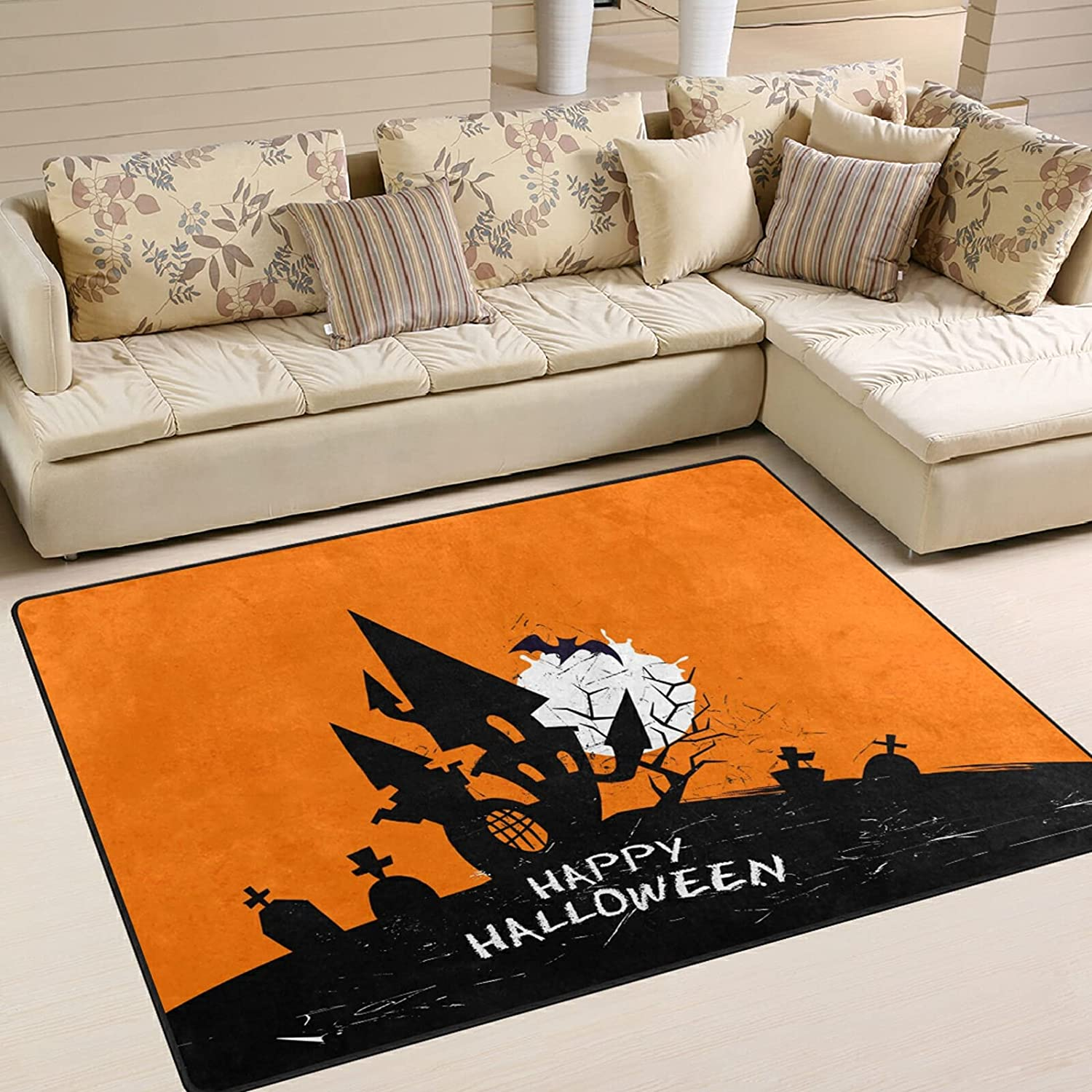 Modern Area Rugs 5x7 depot Washable - Soft Grunge Halloween Excellence Terrific A