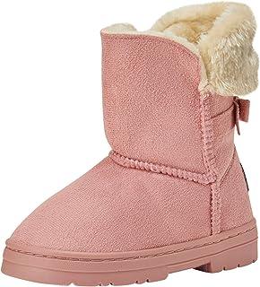 أحذية شتوية مبطنة بالفرو الصناعي للبنات من بيبي مع فيونكة خلفية (رضيع/طفل صغير/طفل كبير)