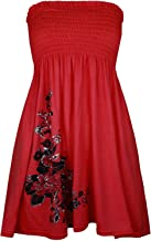 Womens Floral Glitter Swing Dress Ladies Strapless Bandeau Boobtube Sharing Top