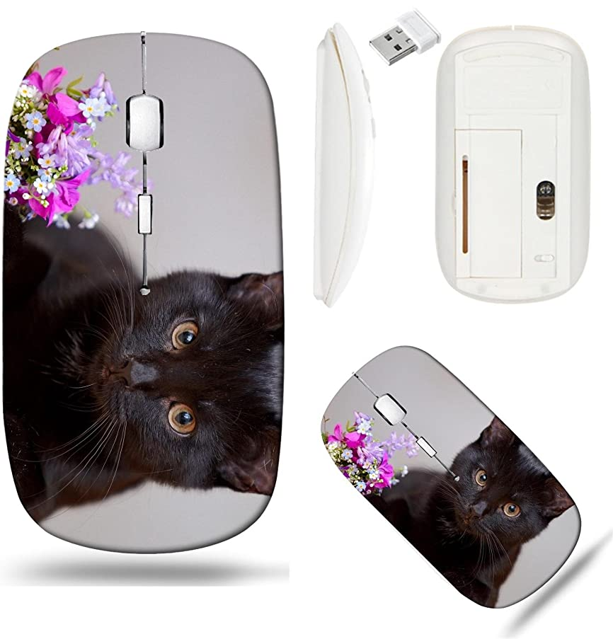 Liili Wireless Mouse White Base Travel 2.4G Wireless Mice with USB Receiver, Click with 1000 DPI for notebook, pc, laptop, computer, mac book The with flowers kitten Small predator Image ID 21696769