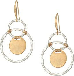 Robert Lee Morris - Silver Plated Orbitals with Gold Plated Circle Drop and Wire Wrapped Details Earrings
