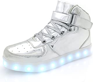 d7ff67e22aab APTESOL Kids Youth LED Light Up Sneakers Boys Girls High Tops Cool Flashing  Shoes for Toddler