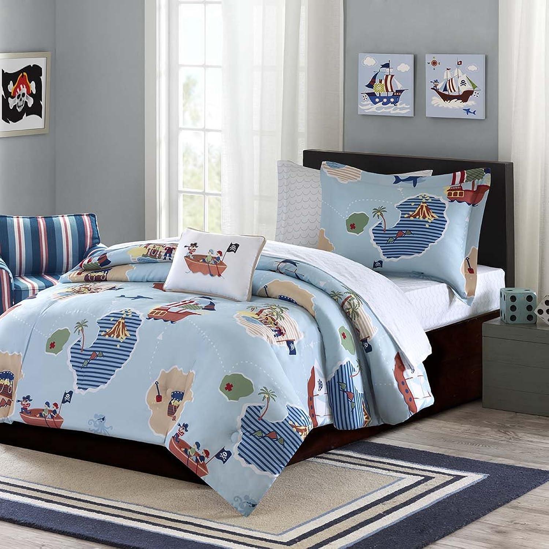Mi-Zone Mizone MZK10-080 Kids Ahoy Matey Complete Bed and Sheet Set Full bluee,