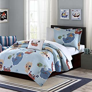 Mi-Zone Mizone MZK10-080 Kids Ahoy Matey Complete Bed and Sheet Set Full Blue,