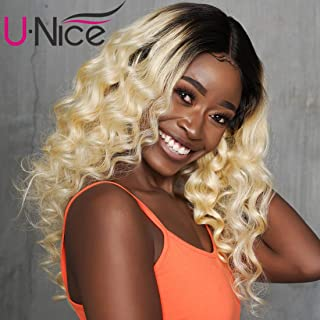 UNice Hair 1b 613 Ombre Blonde Body Wave 3 Bundles with 13x4 Lace Frontal, Brazilian Remy Human Hair Pre Plucked Frontal and bundles, 2 Tone Dark Roots Hair Weave (10 12 14+10 Frontal, 1b/613 Color)