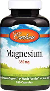 Carlson - Magnesium, 350 mg, Cardiovascular Support, Muscle Function & Nerve Health, 180 capsules